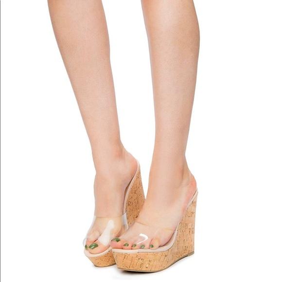 3b94a26d5a2c Heatwave Shoes - Cork Wedge Clear Sandal Sz 7